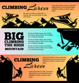 climbing banners collection with black silhouettes vector image