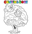 coloring book big tree with birds vector image vector image