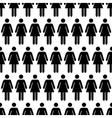 Crowd of black simple women icons on white vector image