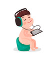 Cute cartoon naked little boy sitting on a pot and