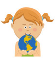 cute little girl holding and offering planet earth vector image