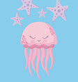 cute octopus with starfish avatar character vector image vector image