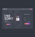 cyber security landing page template design vector image vector image