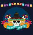day dead skull with hat tequila bottles vector image vector image