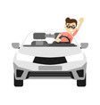 front view car with smiling driver vector image vector image