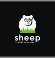 fun sheep eating grass logo icon template vector image vector image