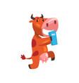 funny brown cow with carton of milk farm animal vector image vector image