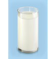 Glass of milk object on blue background vector image vector image