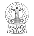 grunge cristo statue inside snow ball glass vector image