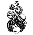 hand drawn of planets and girl surreal artwork vector image vector image