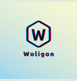 initial letter w logo hexagon shape with glitch vector image
