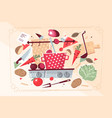 kitchen pattern with food and kitchenware vector image vector image