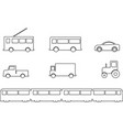land transport vehicles set outline vector image