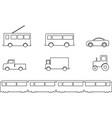 land transport vehicles set outline vector image vector image