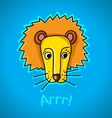 lion on a blue background vector image vector image