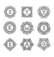 monogram bage logo vector image vector image