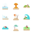 Natural emergency icons set cartoon style vector image vector image