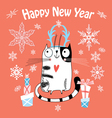 New Year card with a happy cat vector image vector image