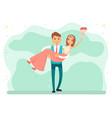 newlywed couple bride and groom on wedding day vector image vector image