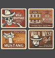 retro posters wild west american western saloon vector image vector image