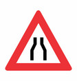 road narrows on both sides sign vector image vector image