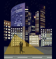 romantic couple at night city business center vector image vector image