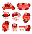 rose flower badge for mother day spring holiday vector image vector image