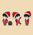 santa boy and bag vector image vector image