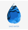 save water 3d abstract paper cut of vector image