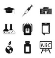 school chemistry icons set simple style vector image vector image