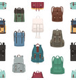 seamless pattern with backpacks or rucksacks of vector image vector image
