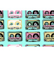 seamless pattern with cassettes vector image vector image