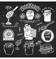 Set hand drawn icon and label honey vector image vector image