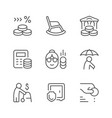 set line icons retirement or pension vector image vector image