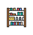shelves with hair products flat color line icon vector image vector image