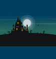 Silhouette of castle and moon halloween landscape