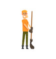 smiling male farmer character cheerful gardener vector image vector image