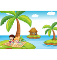 Three islands in the ocean vector image vector image
