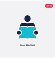 two color man reading icon from education concept vector image vector image