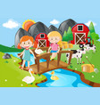 two girls and animals by the river vector image