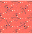 valenines pattern happy valentine day typography vector image