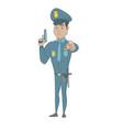 young hispanic policeman holding a handgun vector image vector image