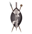 zulu shield ethnic african weapon club and spear vector image vector image