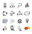 social network icons set cartoon vector image