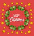 merry christmas wreath leaves berries star red vector image