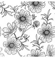 black and white cosmos flower seamless pattern vector image vector image