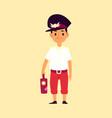 boy railroad engineer or railway train driver flat vector image