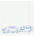 Caravan and Car sketch vector image vector image