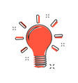 cartoon light bulb icon in comic style bulb idea vector image