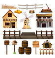 Countryside style of buildings and other objects vector image vector image